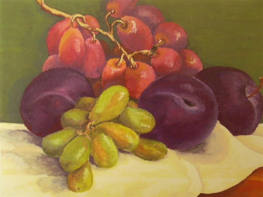 """Plums with Grapes"" original fine art by Karen Collins"
