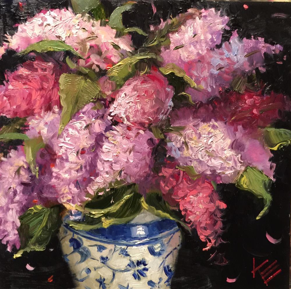 """Lilacs in Blue & White"" original fine art by Krista Eaton"