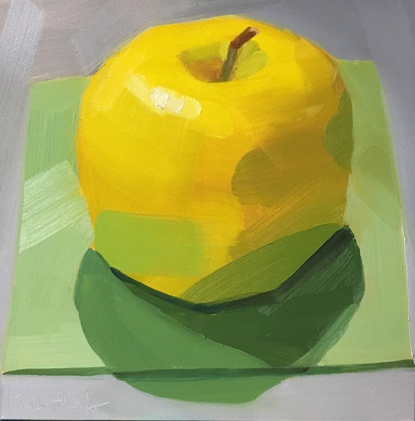 """Yellow Apple on Pale Green Square"" original fine art by Robin Rosenthal"