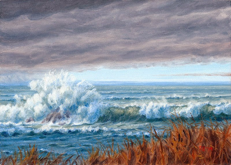 """C1540 Passing Cold Front & Surf"" original fine art by Steven Thor Johanneson"