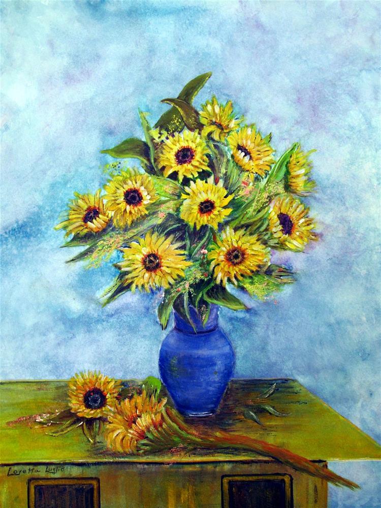 """Sunflowers and Blue Vase"" original fine art by Loretta Luglio"