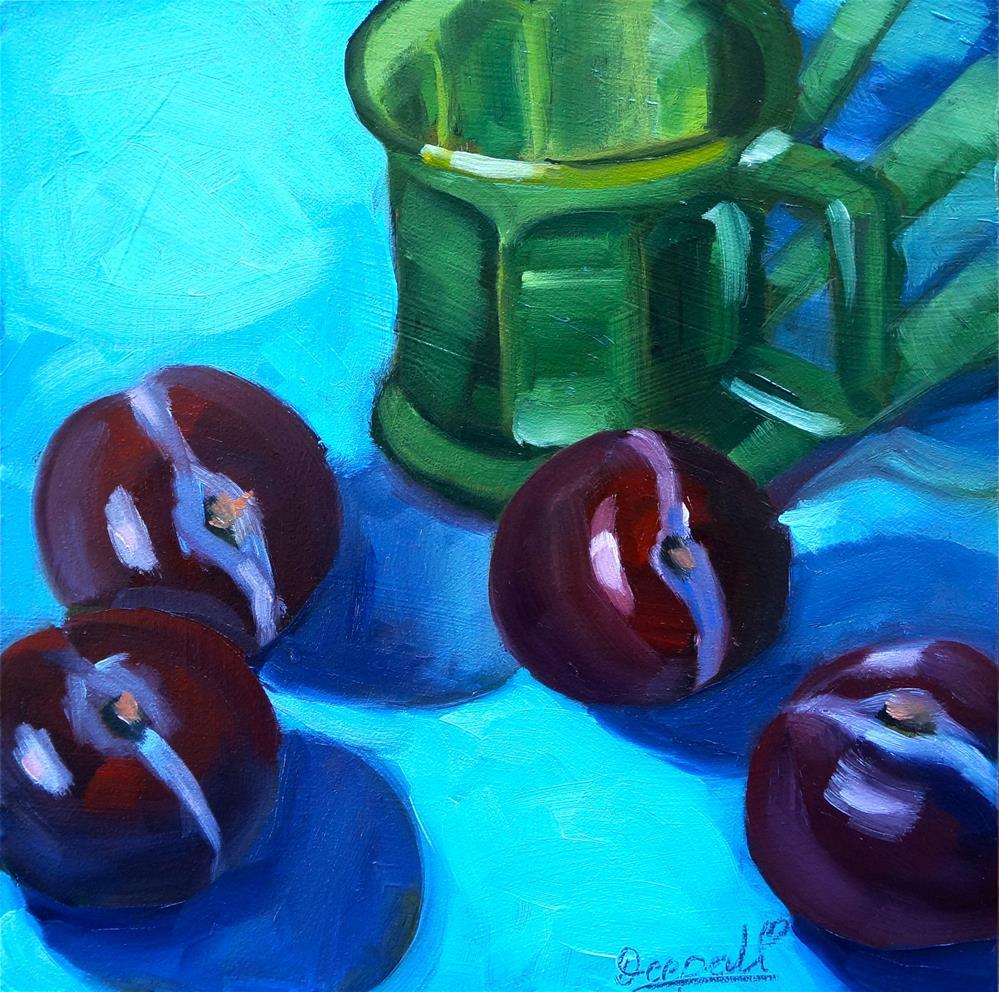 """Plums with cup"" original fine art by Dipali Rabadiya"