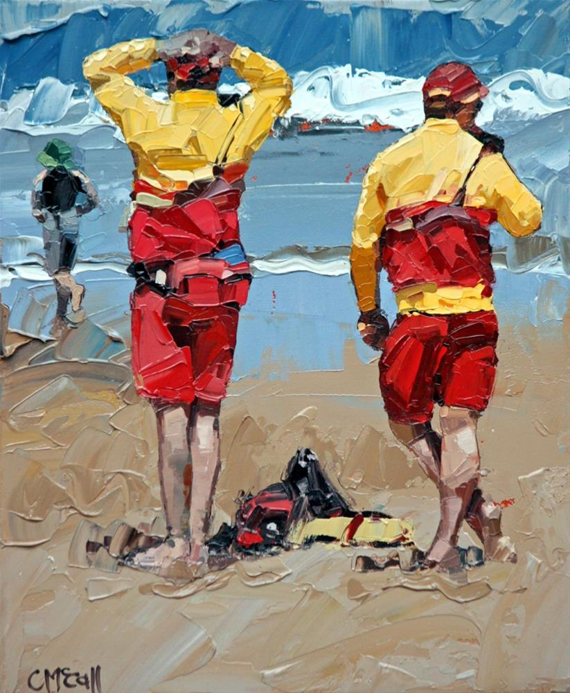 """""""Two Lifeguards"""" original fine art by Claire McCall"""