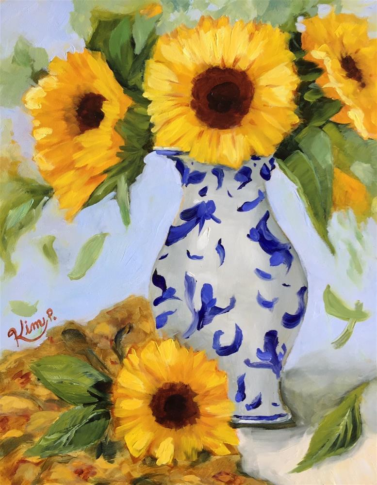 """Sunday Sunflowers in Blue and White Vase"" original fine art by Kim Peterson"