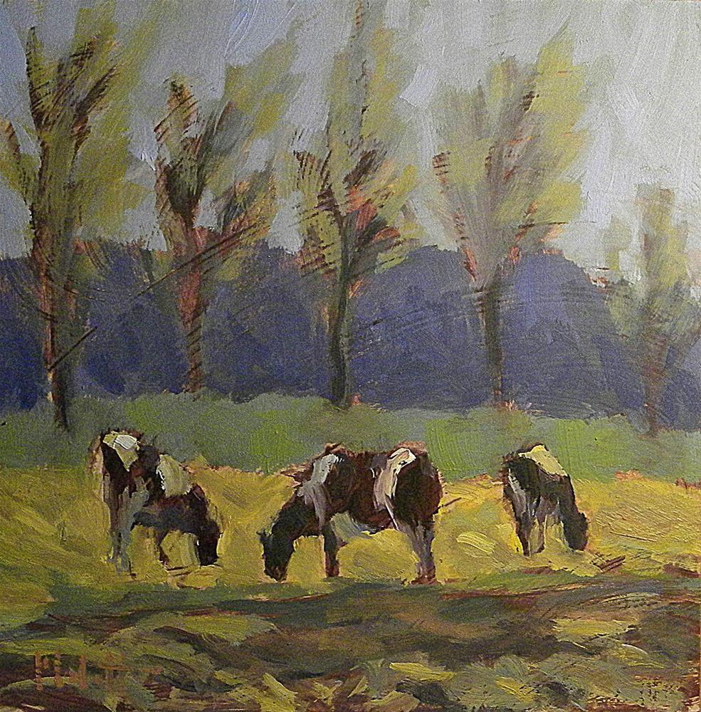 """Holstein Cows Gleaning the Corn Field 8x8 Daily Oil Painting"" original fine art by Heidi Malott"