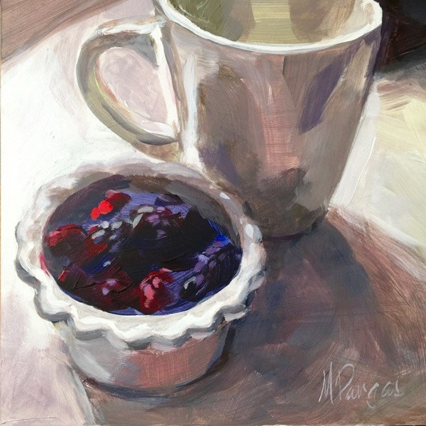 """Tea and Berries"" original fine art by Mary Pargas"