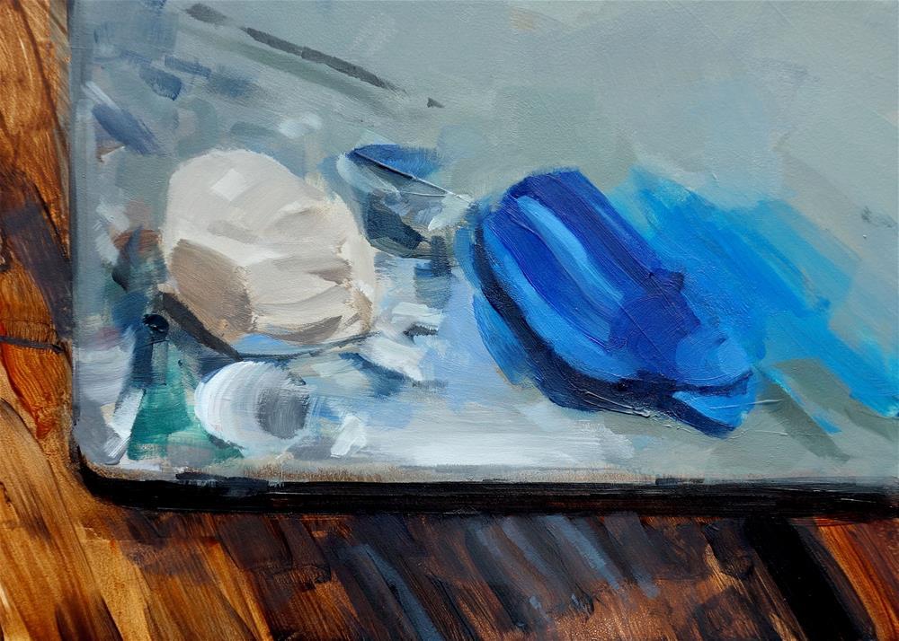 """Titanium White and Cerulean Blue on Palette (no.135)"" original fine art by Michael William"