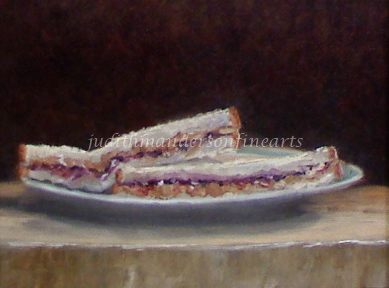 """Peanut Butter and Jelly Sandwich"" original fine art by Judith Anderson"