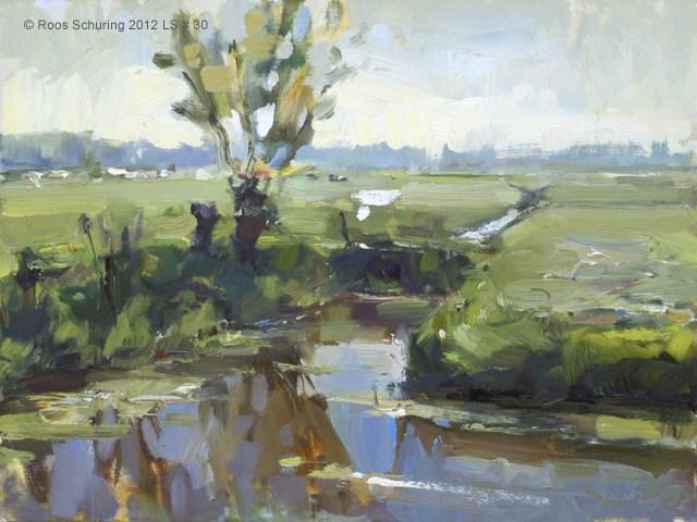 """Landscape spring #30 Same place different light - Willows water meadow (Weiland en wilgen)"" original fine art by Roos Schuring"