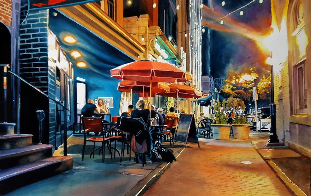 """Night Cafe"" original fine art by John Bayalis"
