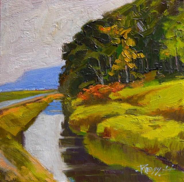 """LaConner Dike  plein air , oil, landscape painting by Robin Weiss"" original fine art by Robin Weiss"