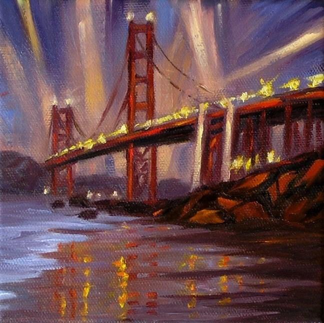 """Golden Gate Bridge at Dusk"" original fine art by Irina Beskina"
