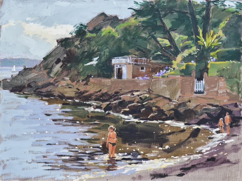 """Hidden garden by the sea"" original fine art by Haidee-Jo Summers ROI"
