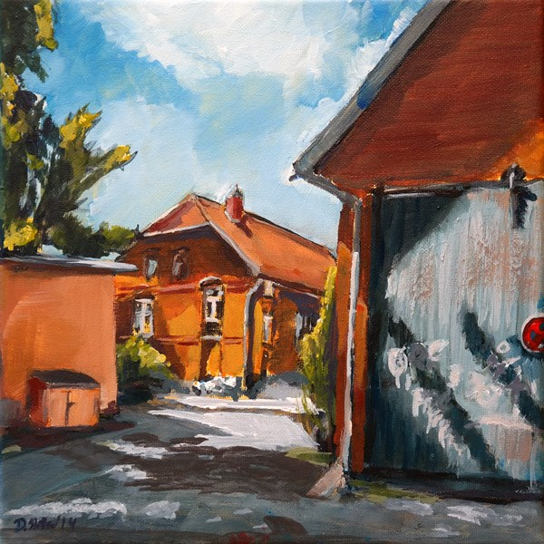 """1015 Orange Light District"" original fine art by Dietmar Stiller"