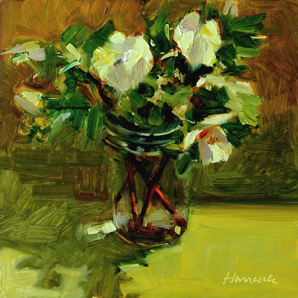 """Yellow Roses Glass Jar on Gold"" original fine art by Gretchen Hancock"