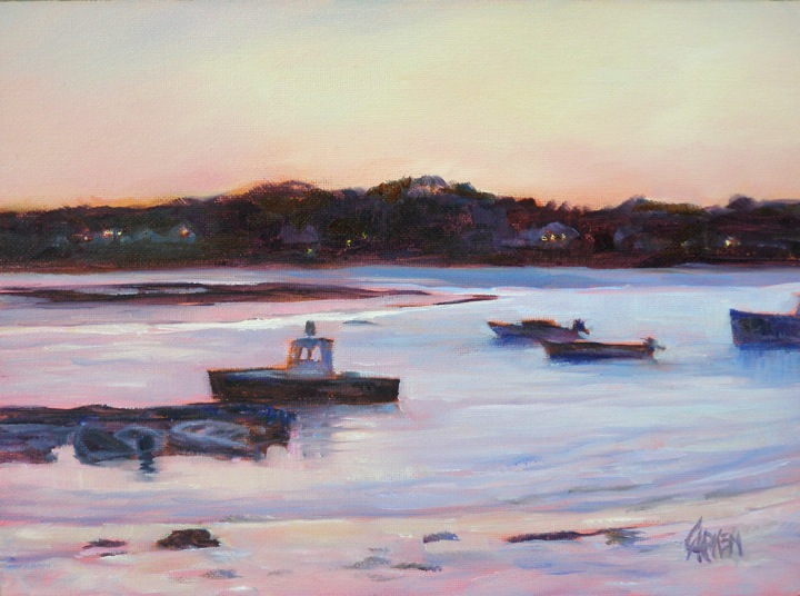 """""""Sunset Bay, 6x8 Oil on Canvas Board"""" original fine art by Carmen Beecher"""