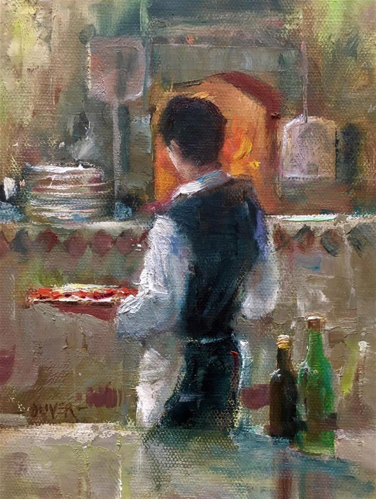 """""""Pizza Time!"""" original fine art by Julie Ford Oliver"""
