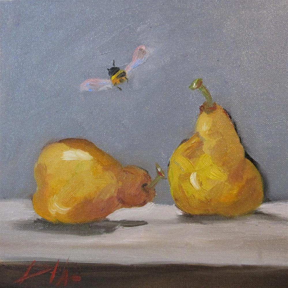 """Pears and Bee"" original fine art by Delilah Smith"