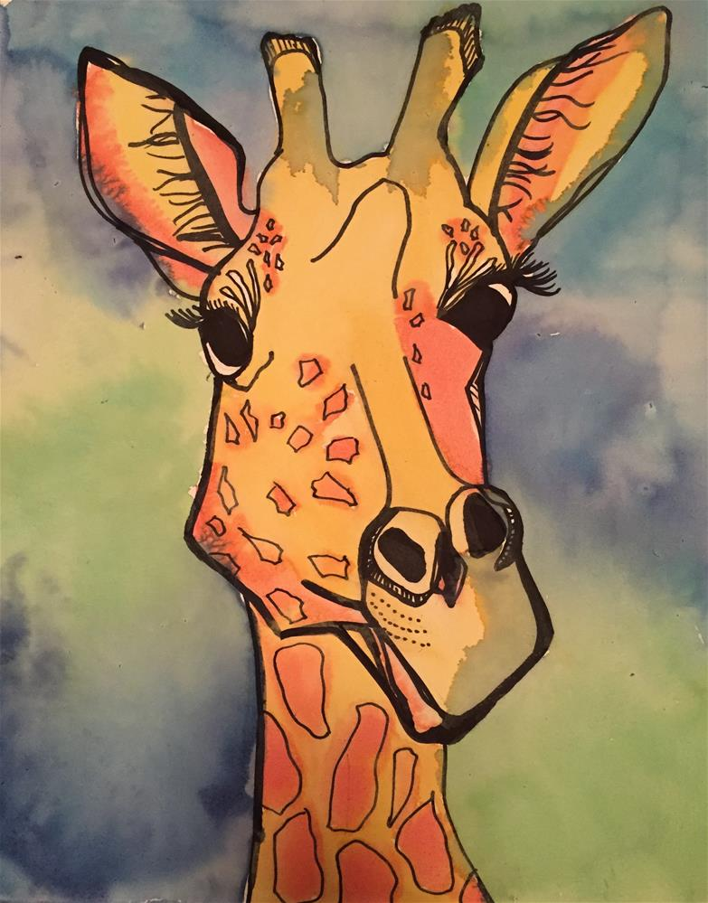 """""""Silly Ol' Giraffe"""" original fine art by Elaine Ford"""