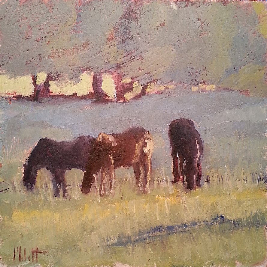 """Horses Morning Graze Original Oil Painting"" original fine art by Heidi Malott"