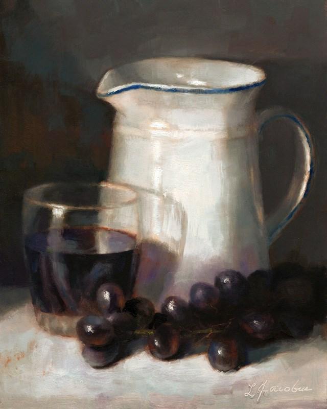 """Pitcher and Grapes"" original fine art by Linda Jacobus"