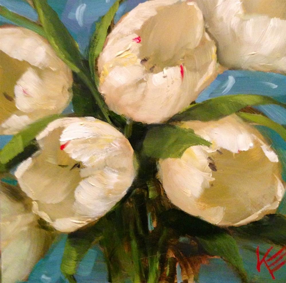 """White on Blue"" original fine art by Krista Eaton"