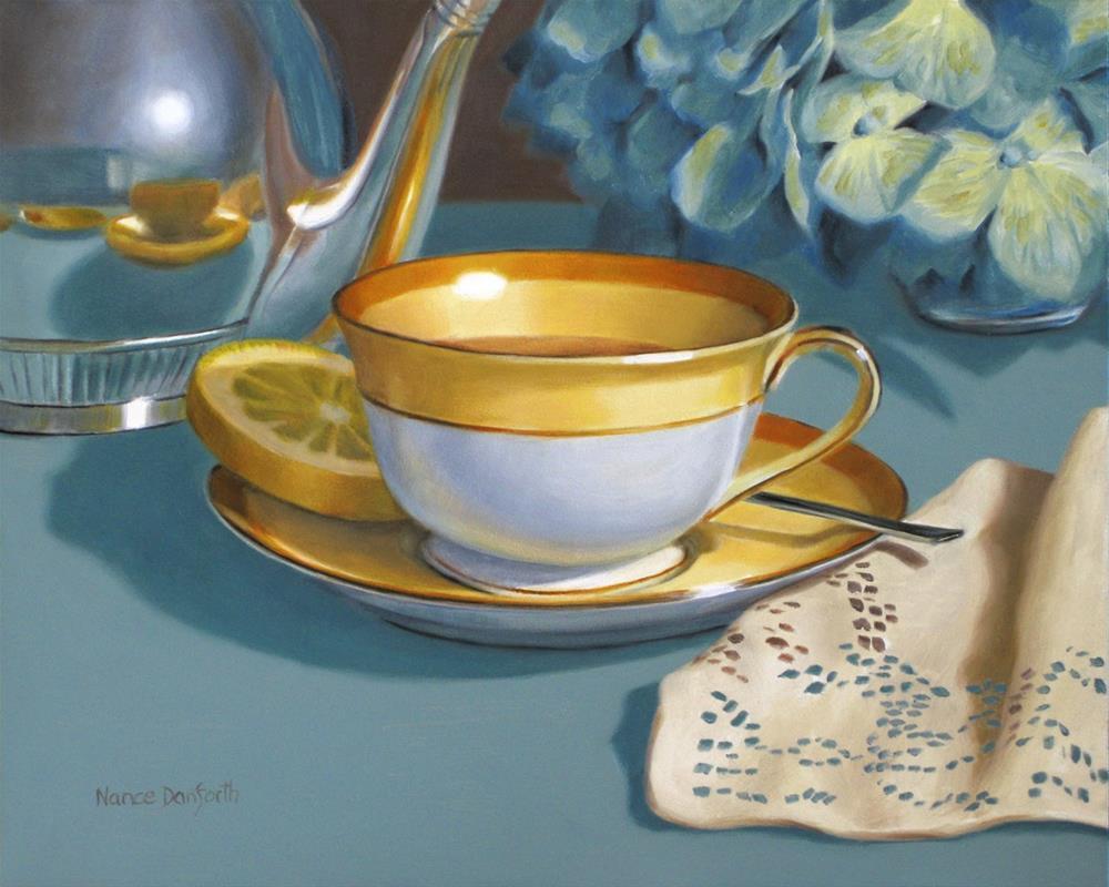 """Tea Cup with Napkin"" original fine art by Nance Danforth"