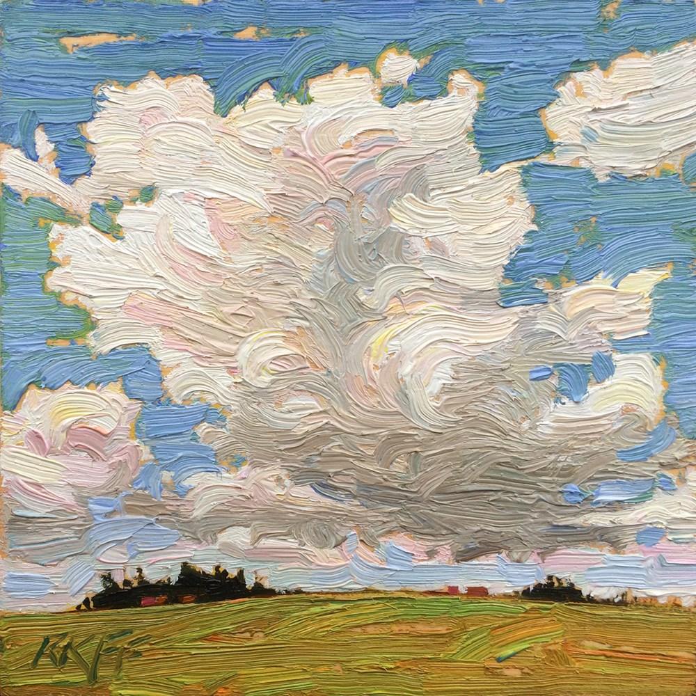 """""""Sunny Fields: 6x6 oil on panel"""" original fine art by Ken Faulks"""
