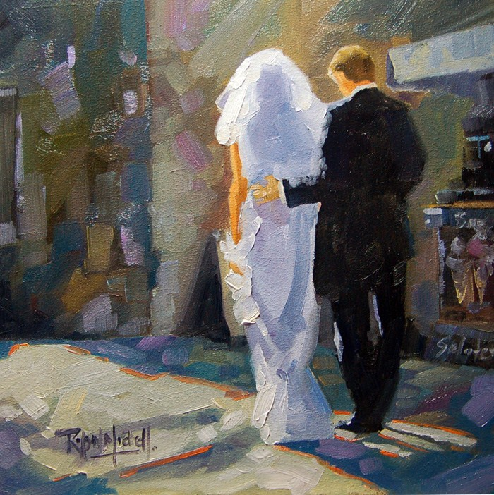 """No 527 The walk to the Reception"" original fine art by Robin J Mitchell"