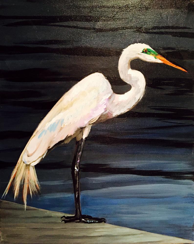 """White Heron"" original fine art by Bonnie Masdeu"