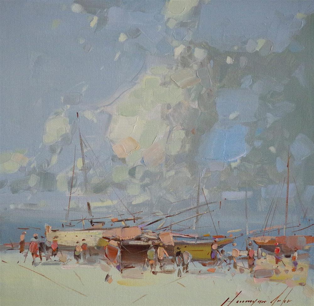 """Seashore, Original oil Painting, handmade art, Signed"" original fine art by V Y"