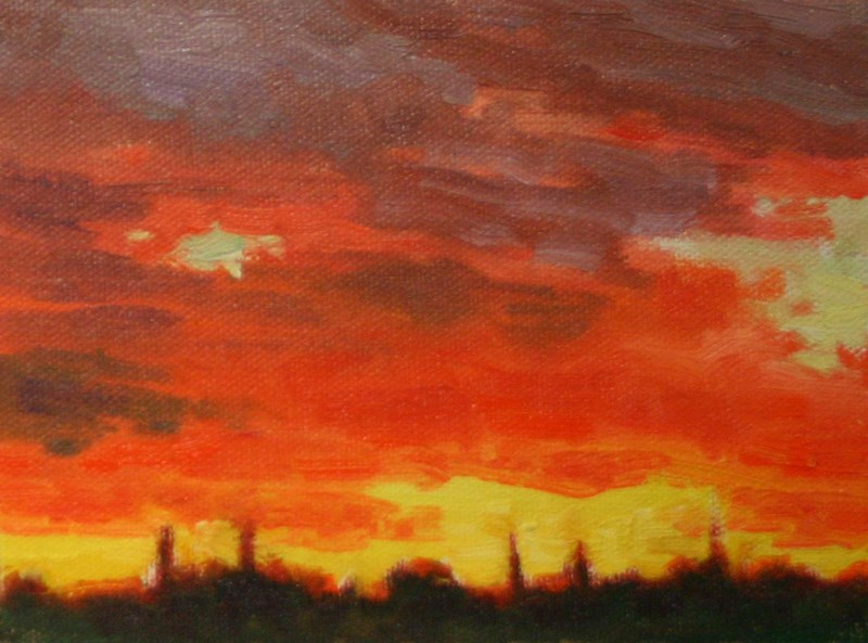 """Sonora Sunset in Scarlet"" original fine art by K.R. McCain"