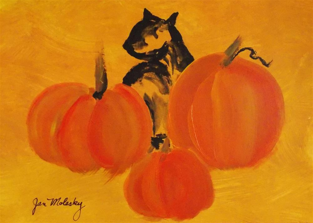 """""""Pumpkins Abstract"""" original fine art by Jan Molesky"""