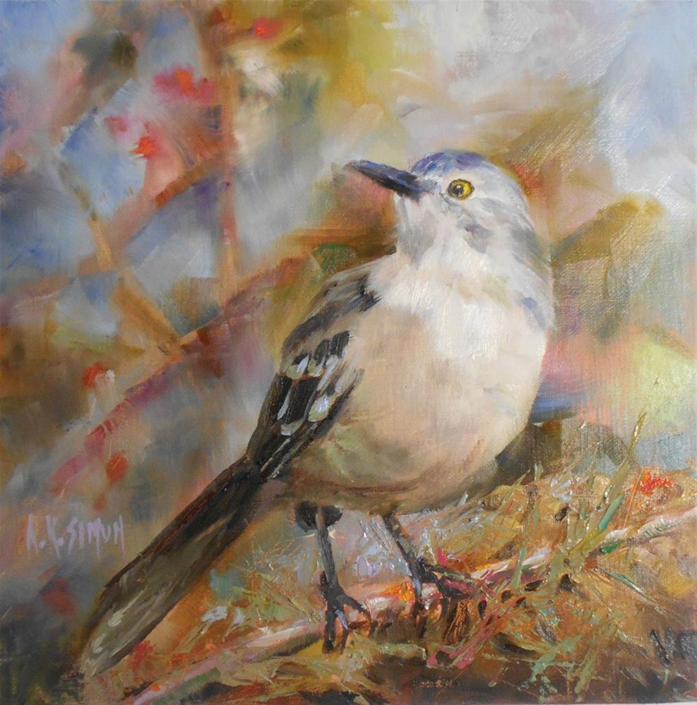 """Mockingbird - State Bird for AR, TN, FL, MS, TN, TX"" original fine art by A.K. Simon"