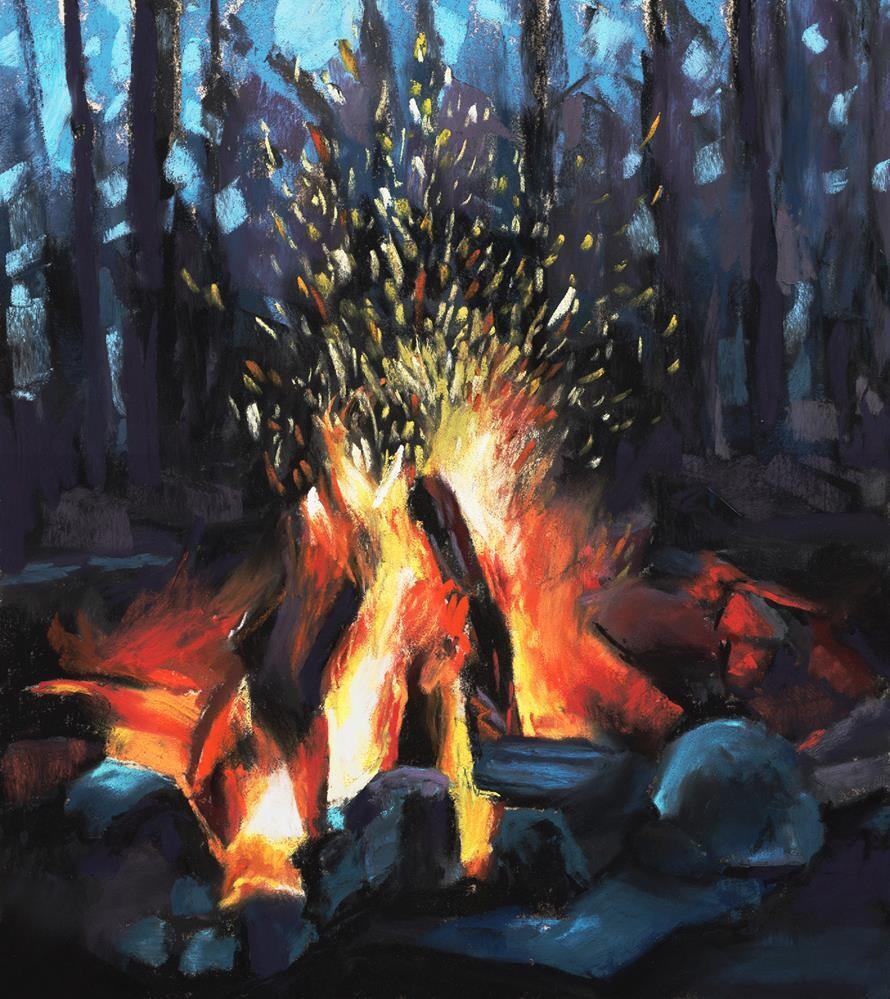 """Campfire pastel painting"" original fine art by Ria Hills"