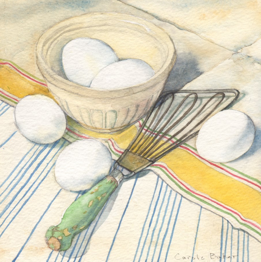 """""""Eggs and Whisk"""" original fine art by Carole Baker"""