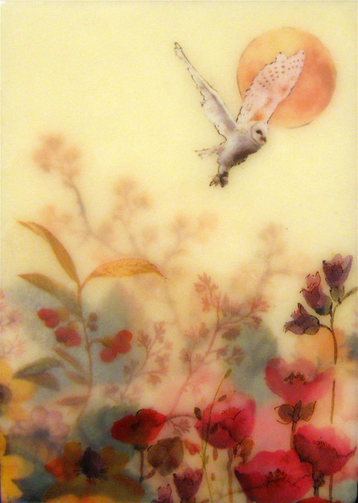 """Owl In My Garden"" original fine art by Danielle M. Le  Bris"