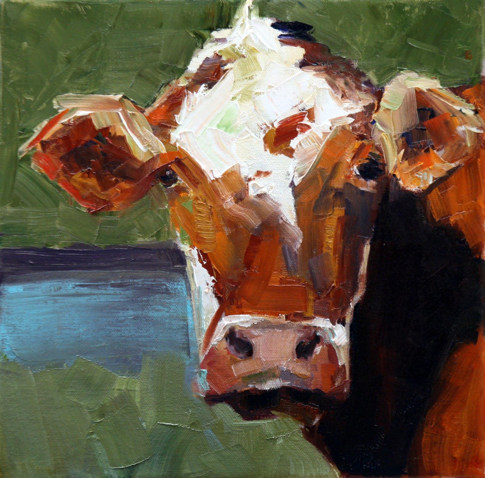 """""""moo cow"""" original fine art by Carol Carmichael"""