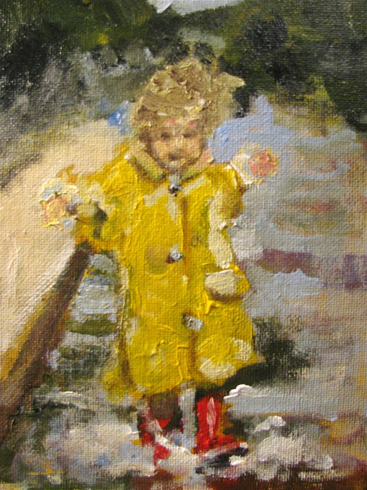 """Red Wellingtons"" original fine art by Susan Elizabeth Jones"