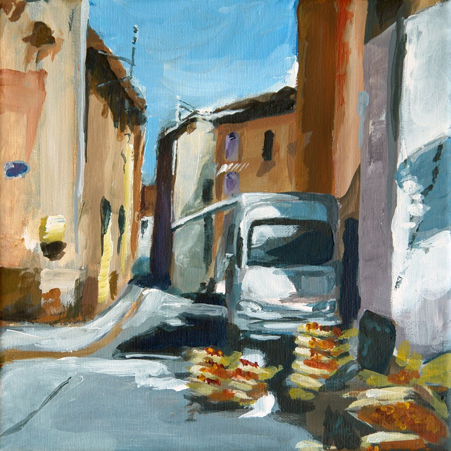 """0693 Sur le Marché"" original fine art by Dietmar Stiller"