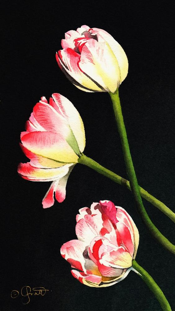 """""""Three Tulips and St. Patricks Day"""" original fine art by Jacqueline Gnott, TWSA, WHS"""
