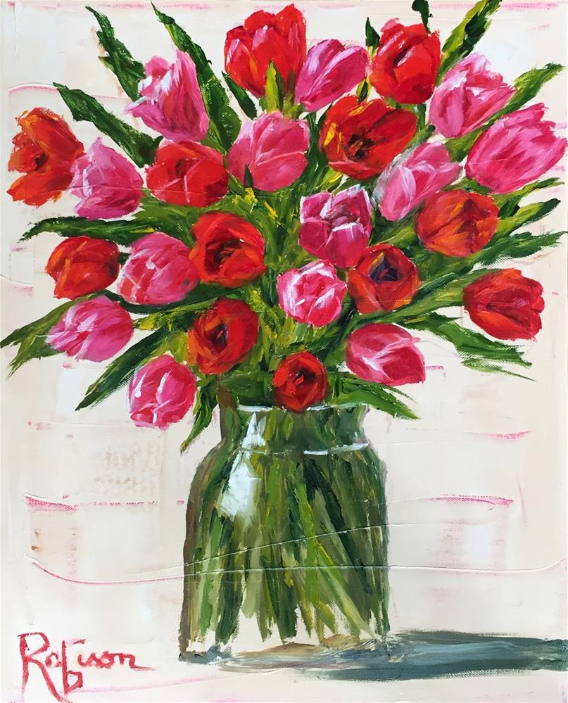 """Red and pink"" original fine art by Renee Robison"