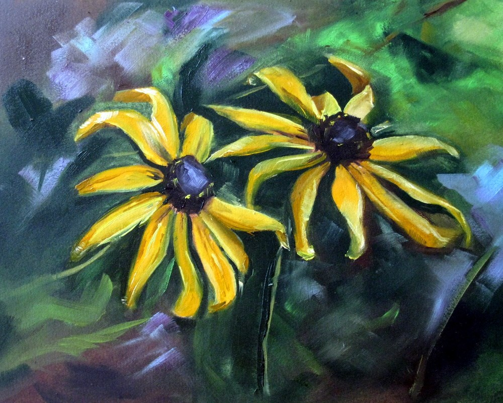"""Black-Eyed Susans"" original fine art by Kulli Maslova"