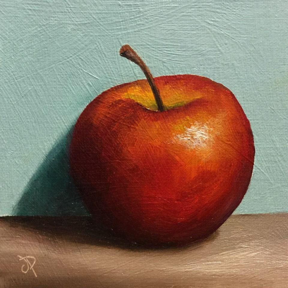 """Red Apple shadow"" original fine art by Jane Palmer"