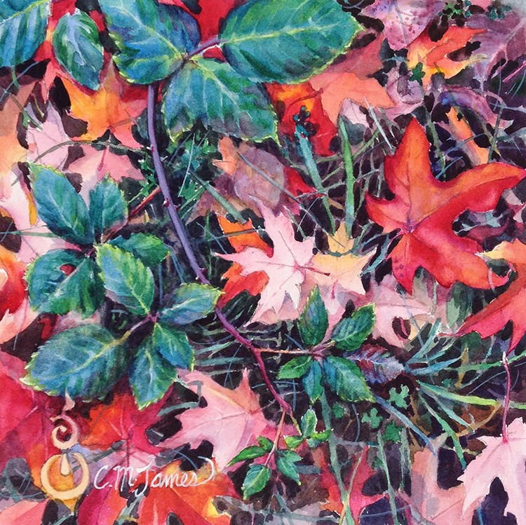 """""""Autumn Study in Red & Green"""" original fine art by Catherine M. James"""