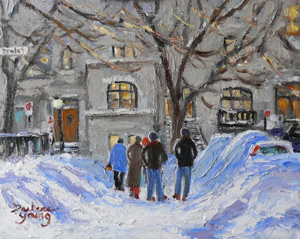 """924 Le Plateau Montreal Winter Scene, Drolet, 8x10 oil on board"" original fine art by Darlene Young"