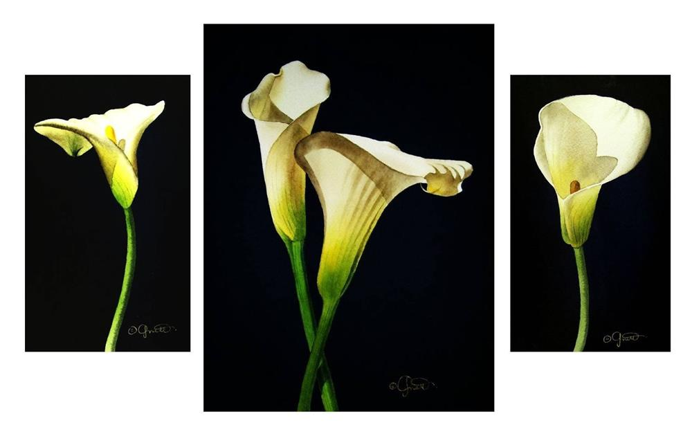 """Calla Grouping"" original fine art by Jacqueline Gnott, TWSA, WHS"