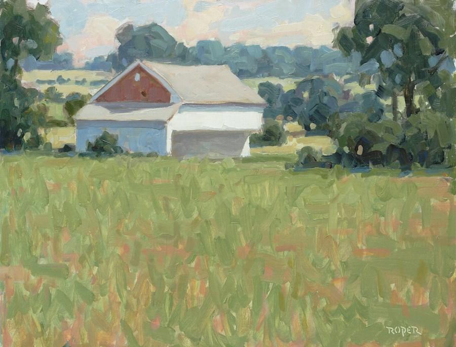 """DAY 25:  The Trostle Barn"" original fine art by Stuart Roper"