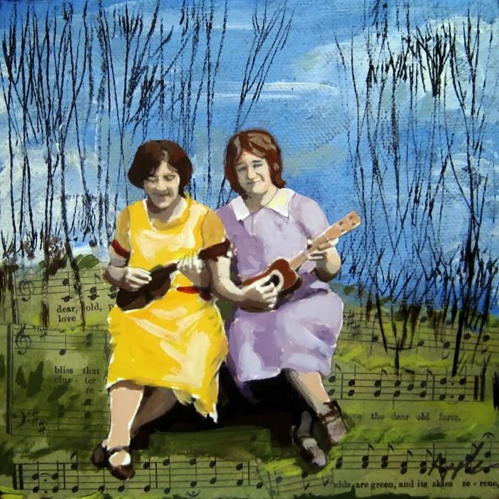 """Woodland Music women mixed media painting"" original fine art by Linda Apple"