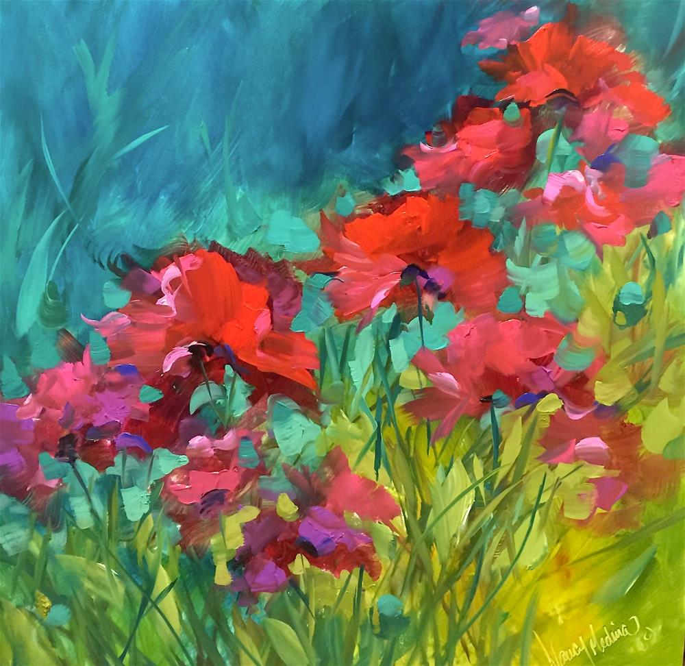 """Poppy Chorus and Something Colorful This Way Comes"" original fine art by Nancy Medina"